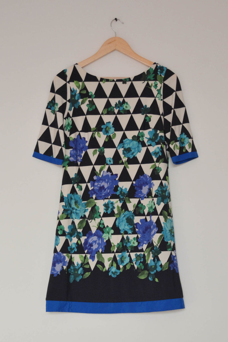 Preowned - Floro-Geometric Print Dress