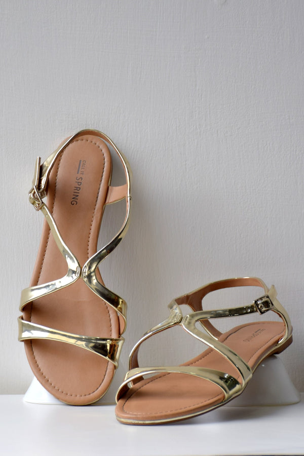 Preowned - Golden Strappy flats