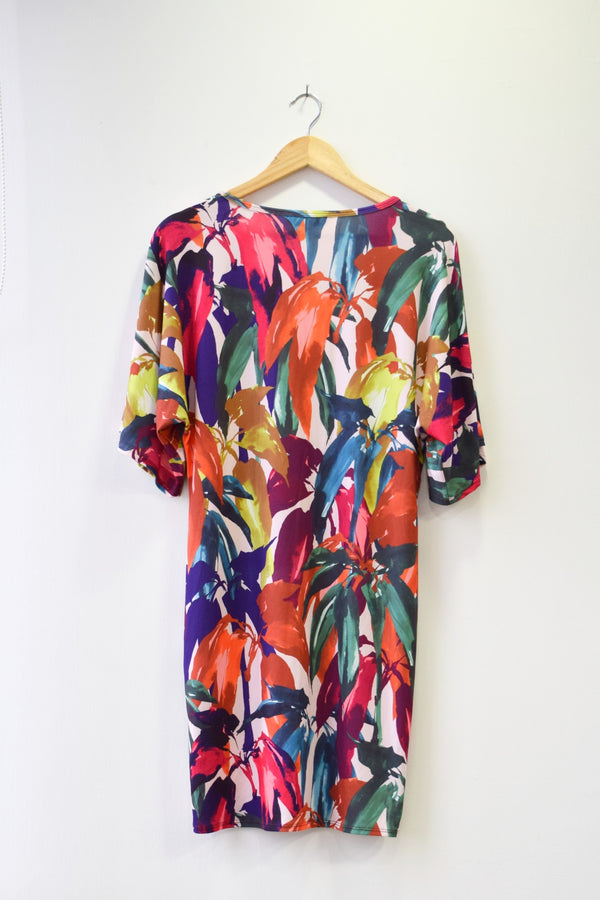 Preowned - Floral Print T-shirt Dress