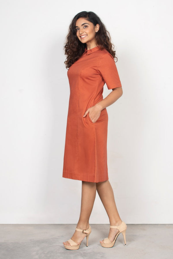 Rust Collared Shift Dress