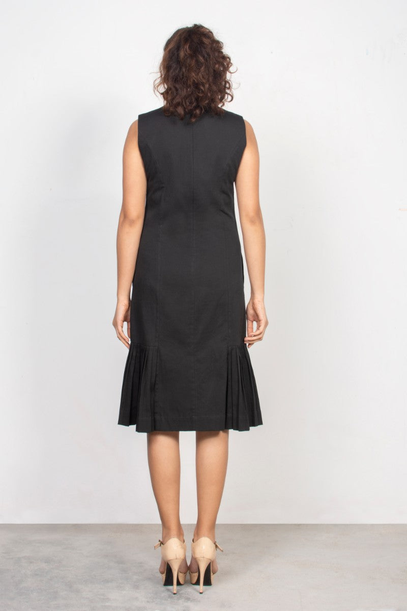 Black High Neck Midi