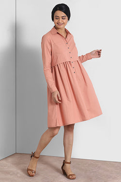 Dusty Pink Button Down Gathered Dress