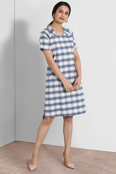 Blue And White V Neck Collar Shift Dress
