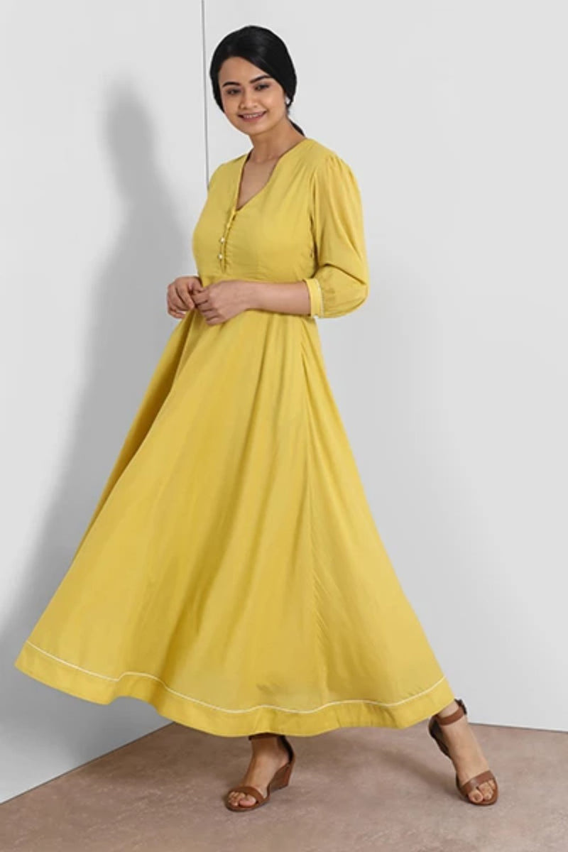Yellow V Neck Maxi