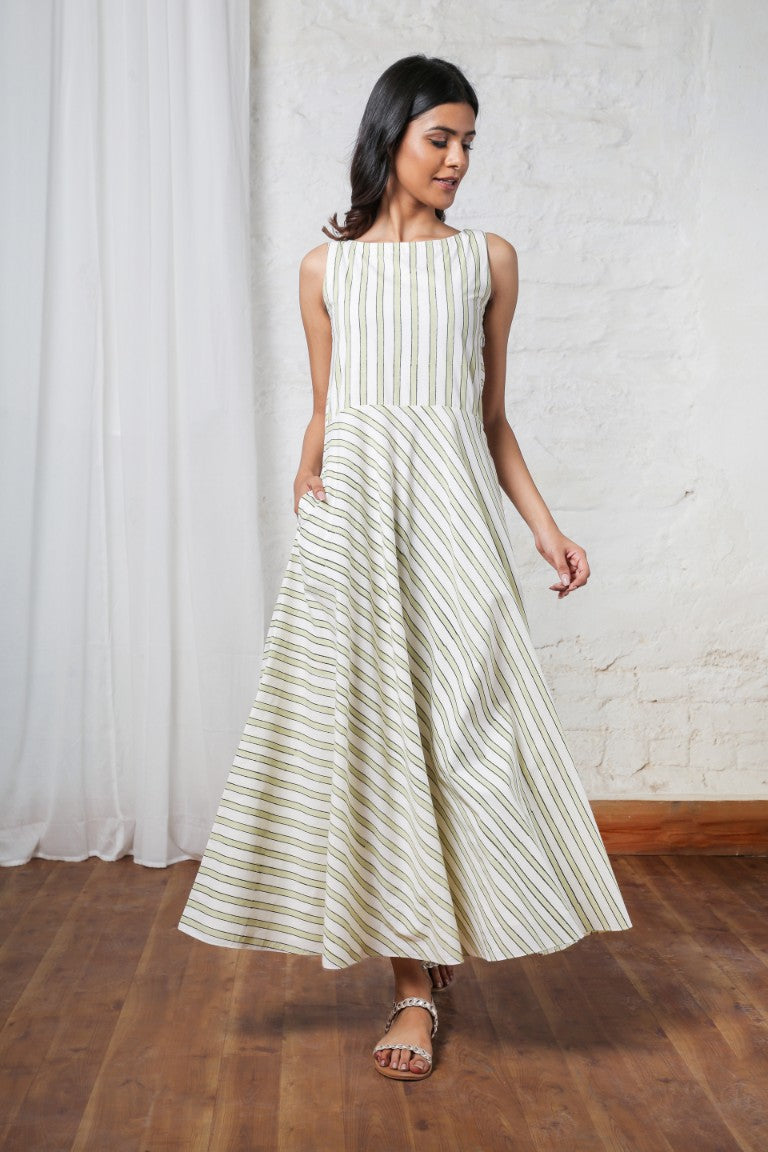Ivory & Olive Striped Maxi