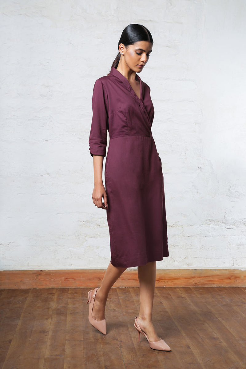 Deep purple Knee-Length dress