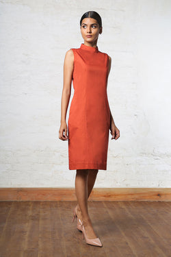 Rust Turtleneck Dress
