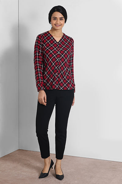 Red And Black V Neck Shirt