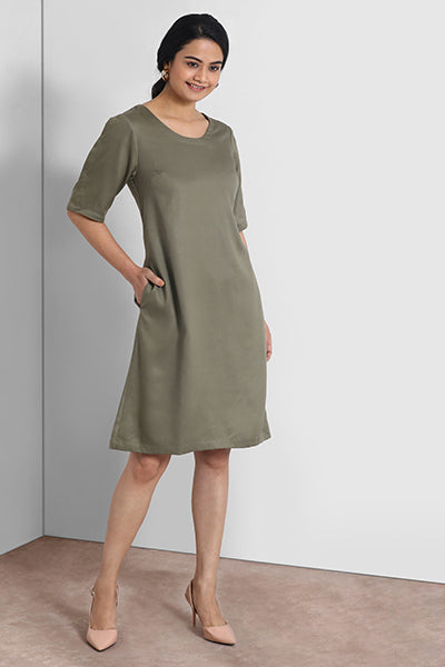 Olive Buttoned Sleeve Dress