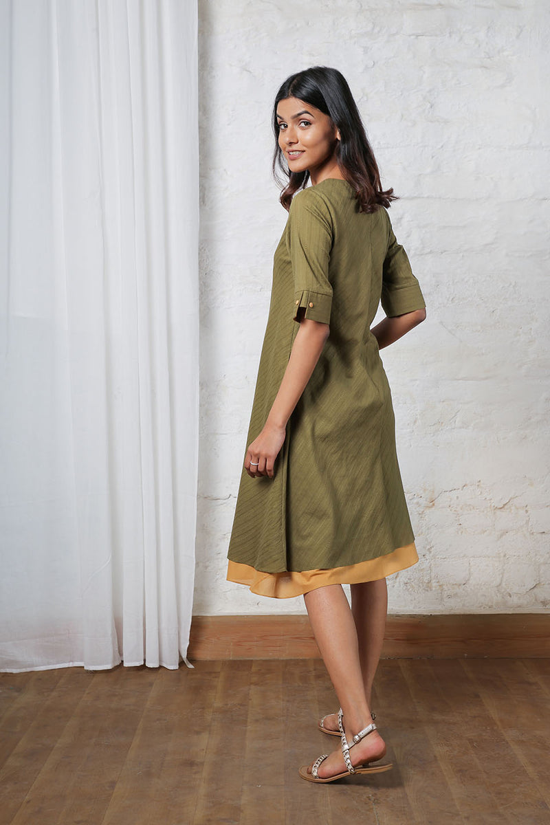 Striped Olive Midi with Golden Hemline
