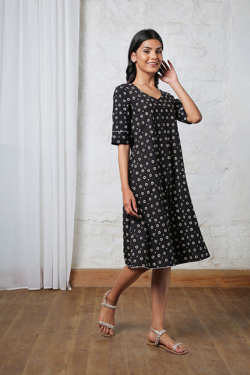 Black Midi with White Polka Print
