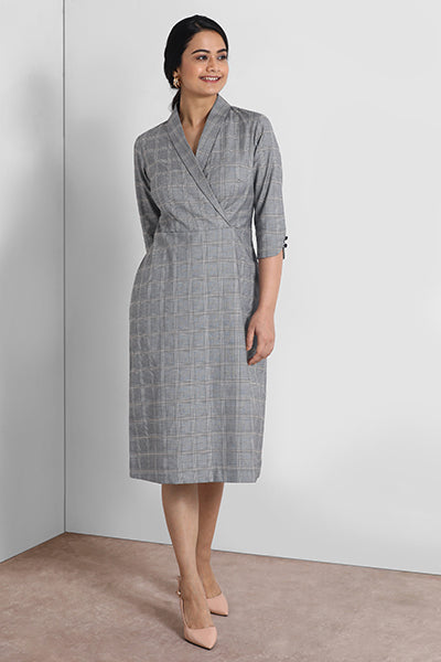 Steel Grey Shawl Collar Dress