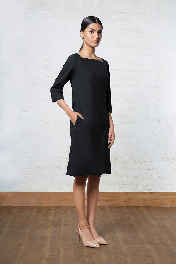 Black Shift Dress with Square Neck