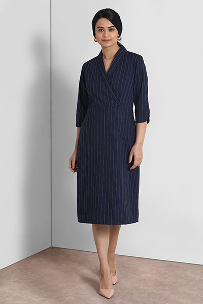 Navy Stripes Shawl Collar Dress
