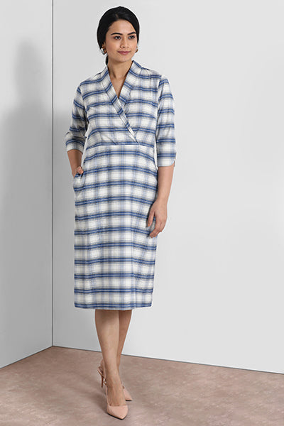 Blue And White Shawl Collar Dress