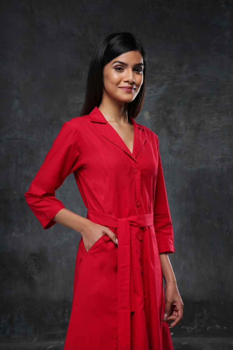 Red Trench Coat Dress