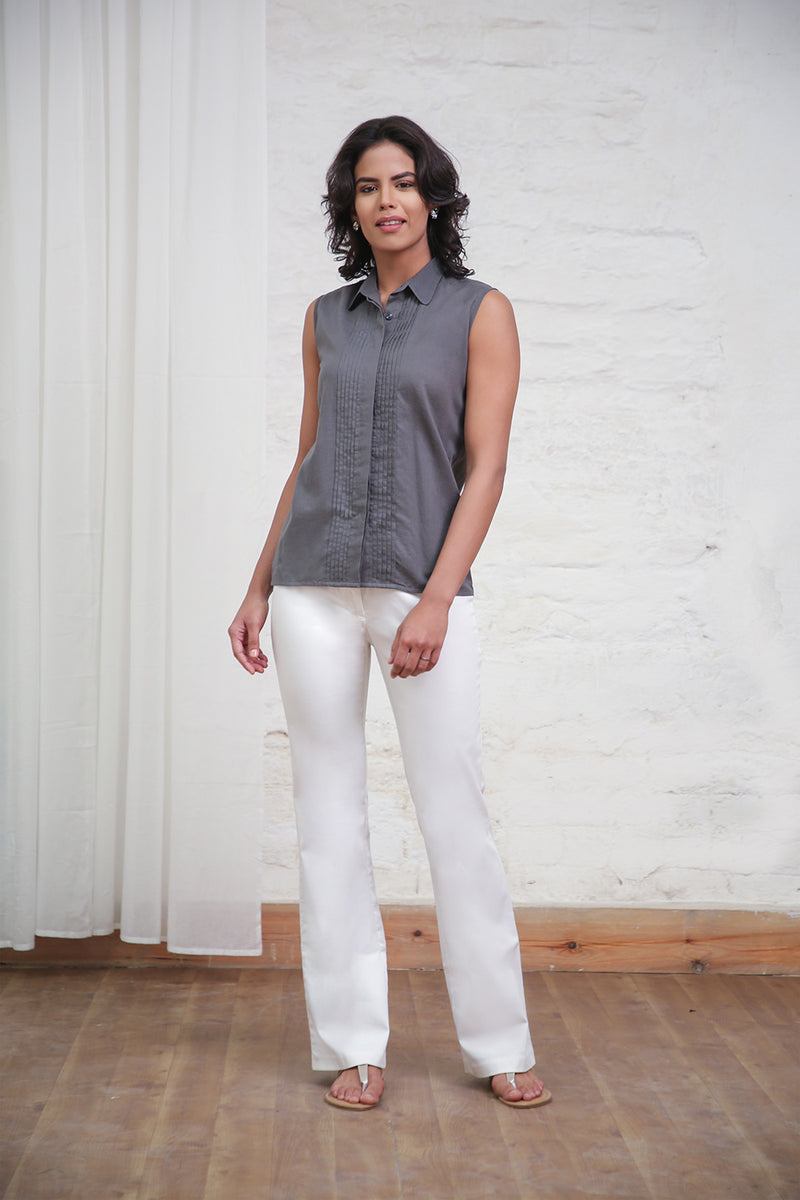 Grey Collared Sleeveless Top