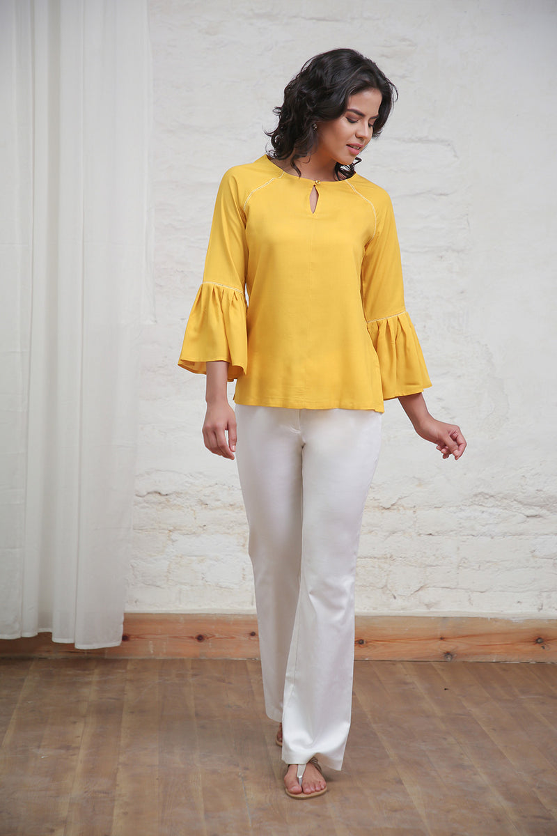 Yellow Bell Sleeves Top