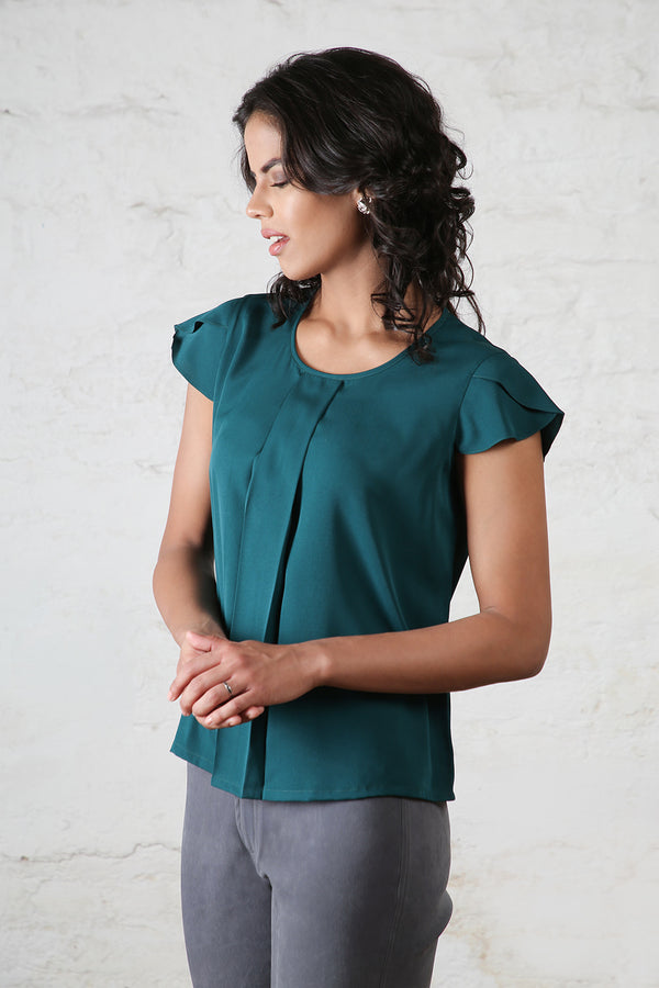 Teal Cap Sleeves Blouse