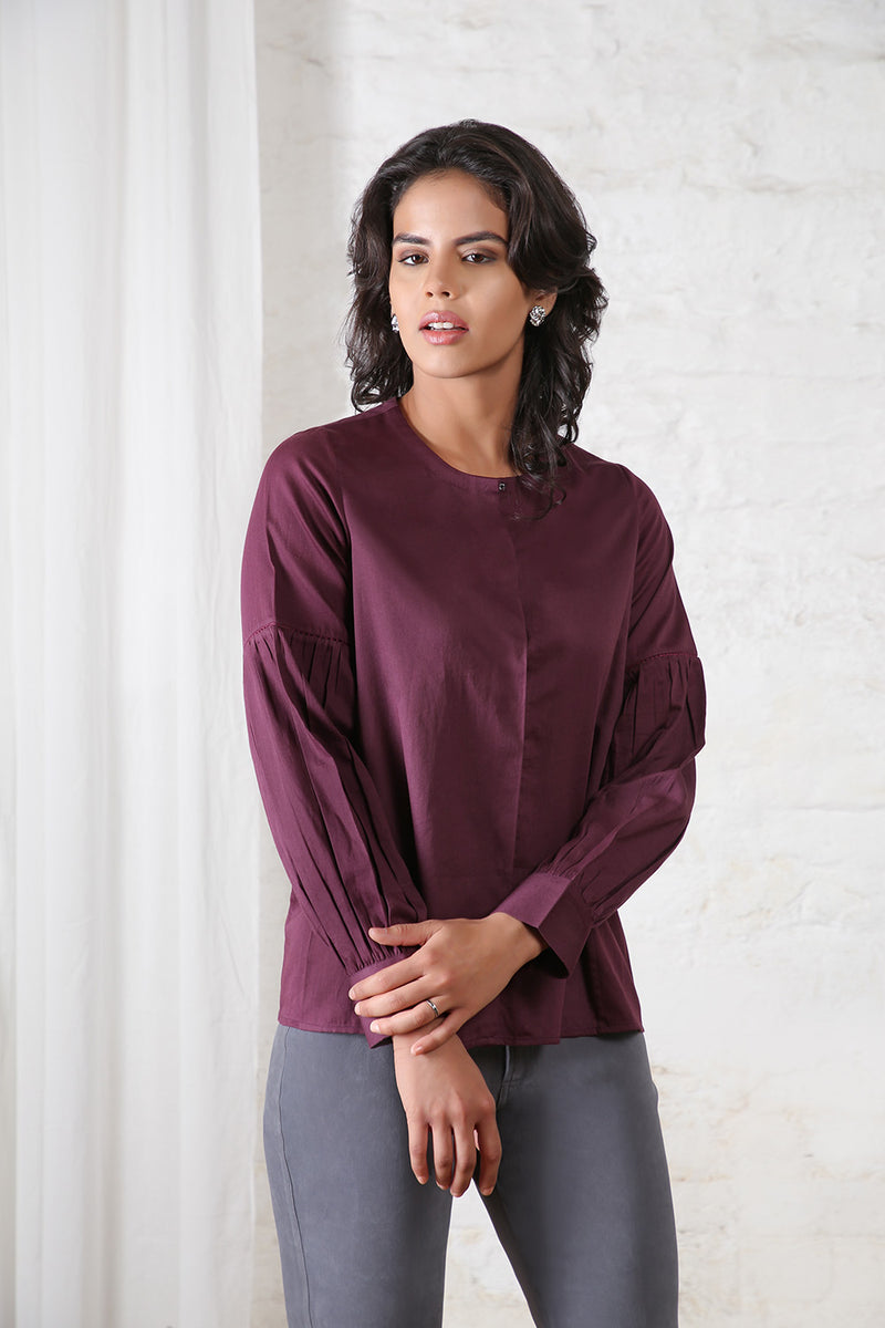 Purple Balloon Sleeved Top