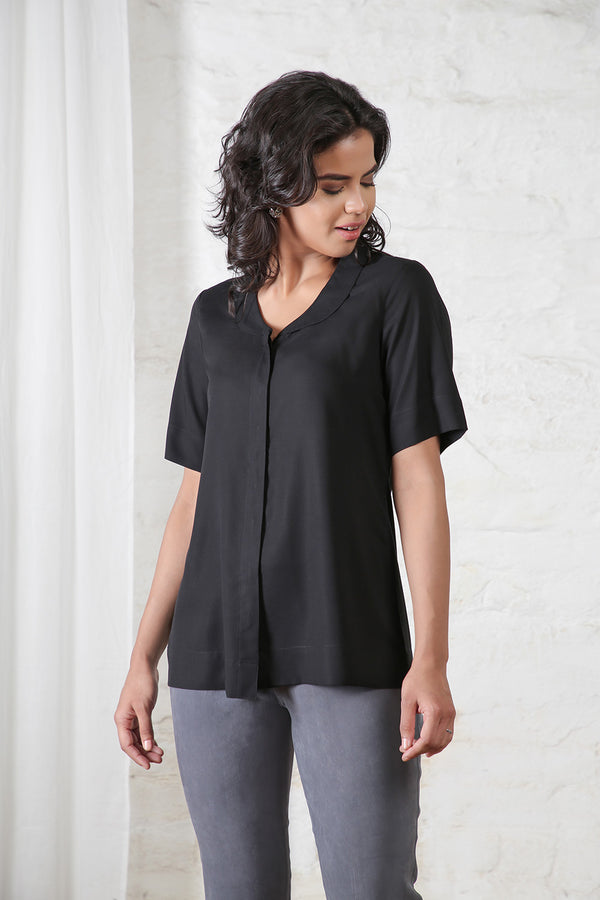 Black Half Sleeves Shirt