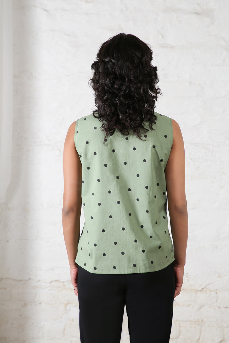 Olive Polka Collared Sleeveless Top