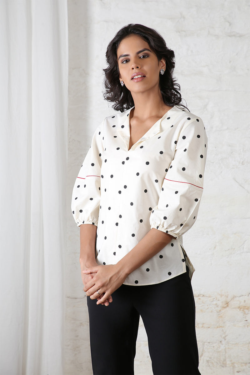 Black & White Polka Blouse
