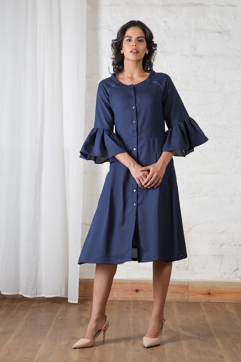 Navy Frilled Sleeves Dress