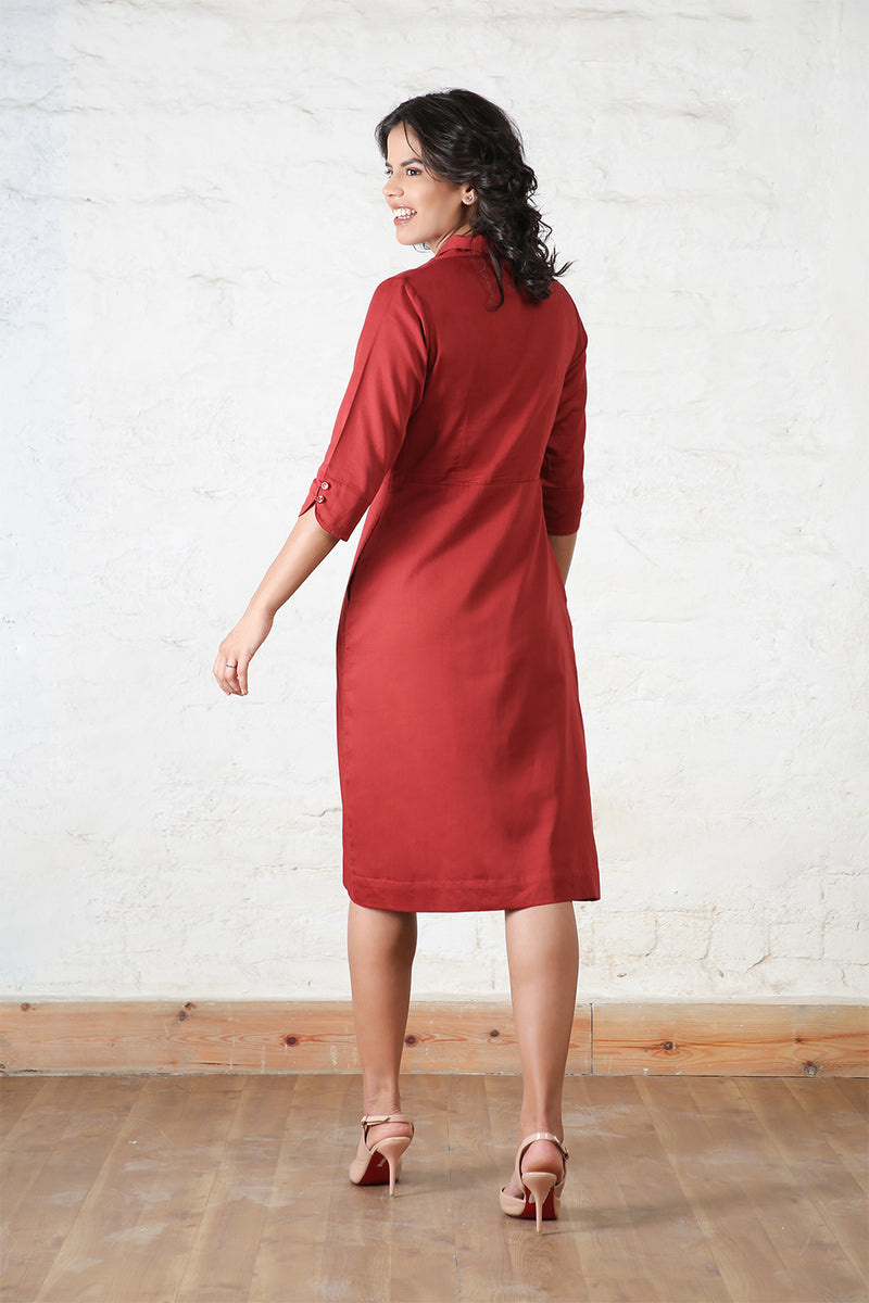 Maroon Shawl Collared Dress