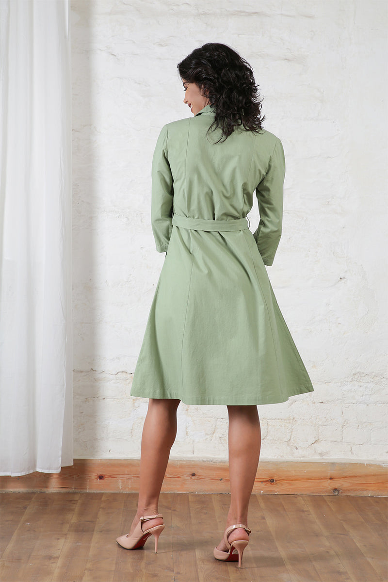Olive Trench Dress