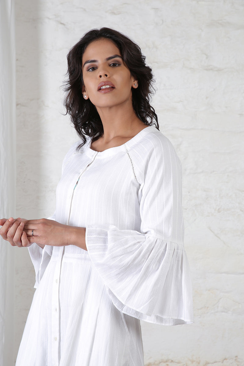 White Frilled Sleeves Dress
