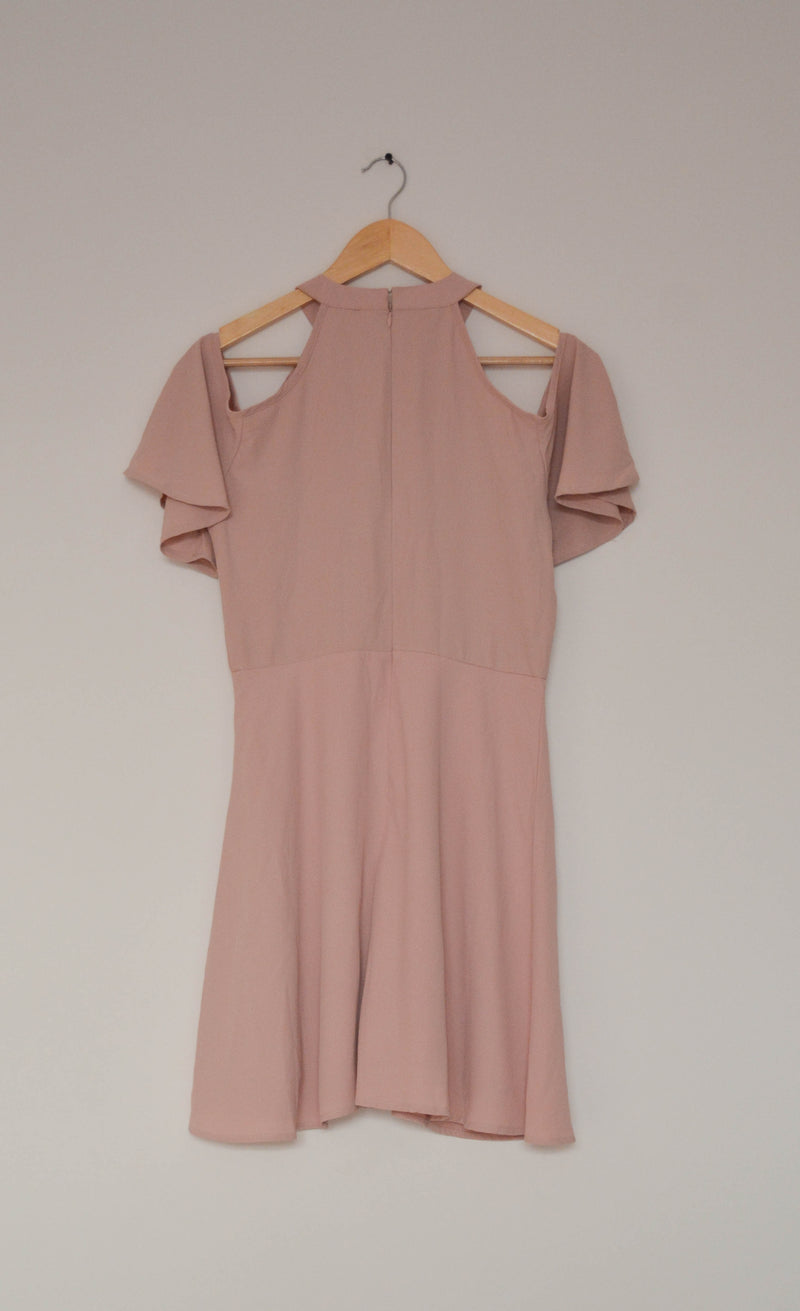 Preowned - Powder Pink Cold Shoulder Ruffle sleeve Dress