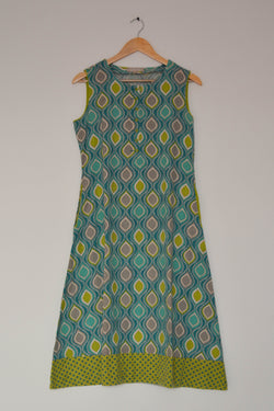 Preowned - Blue green Printed Midi