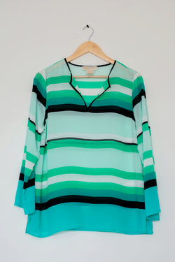 Preowned - Aqua Stripes Top