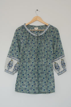 Preowned - Block printed Floral Green Top