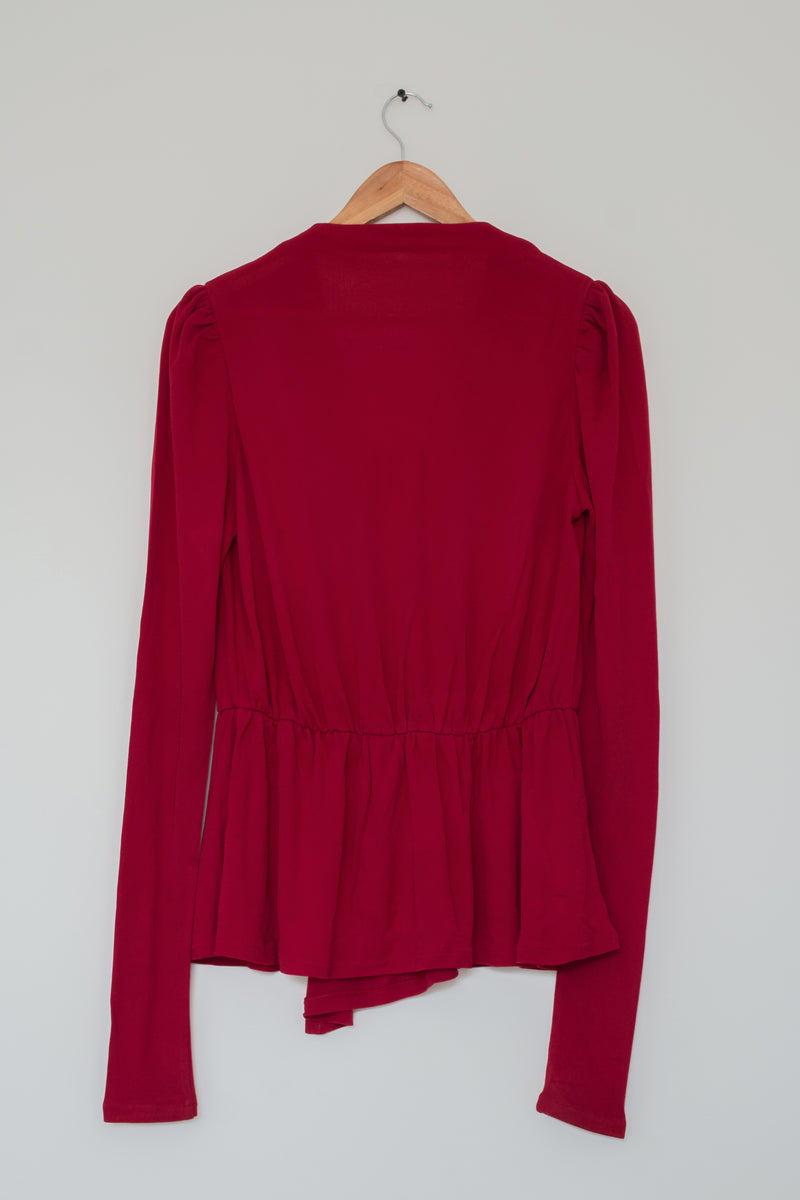 Preowned - Maroon Peplum Top