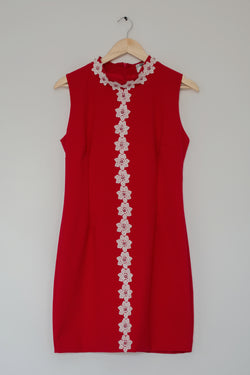 Preowned - Turtle Neck red lace dress