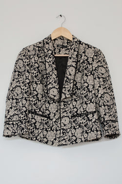 Preowned - Black and Grey Floral Jacquard Blazer