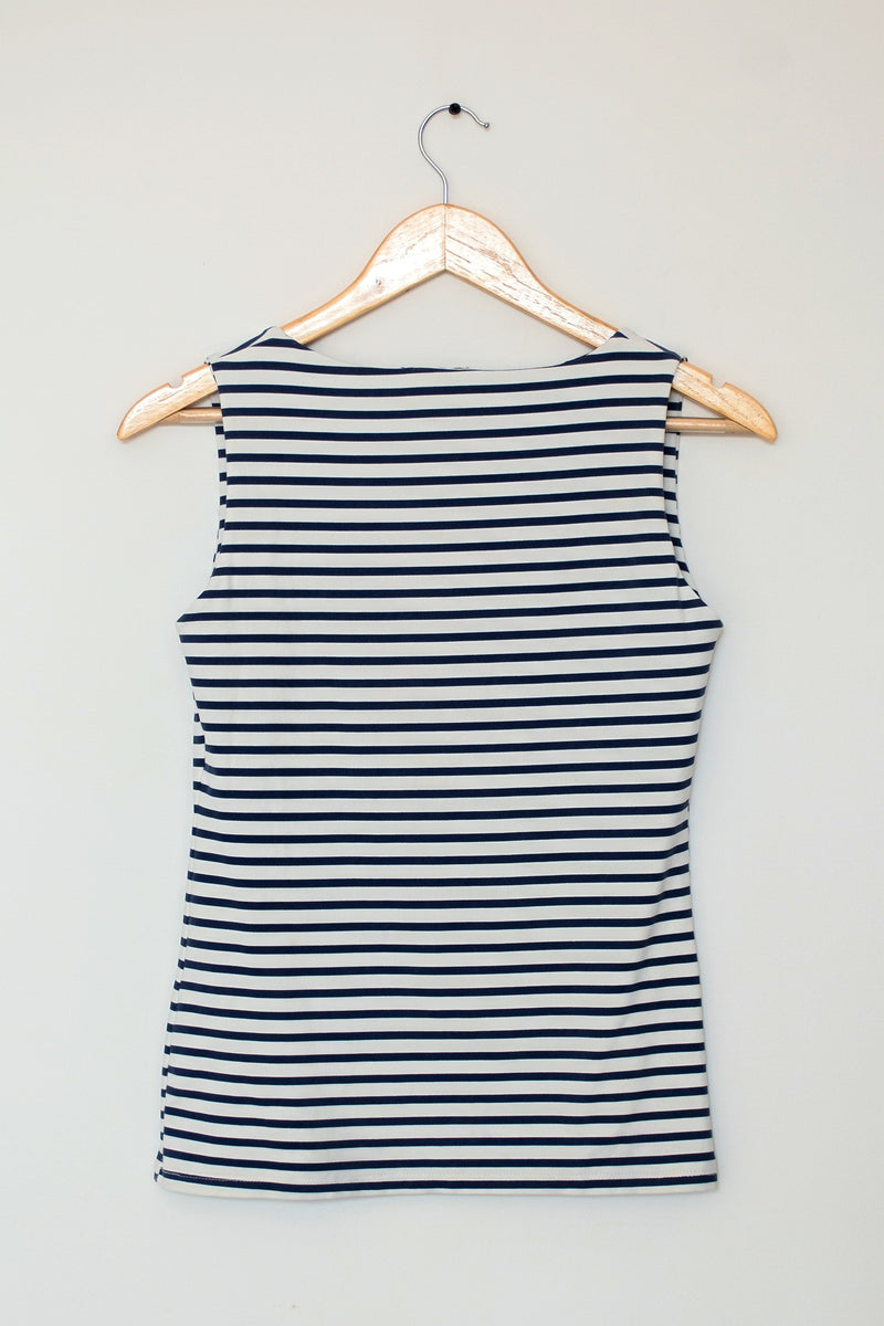 Preowned - Blue Horizontal Stripes Knit Top
