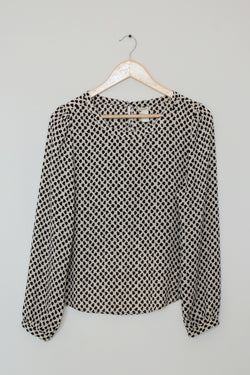 Preowned - Printed Back Button Down Top
