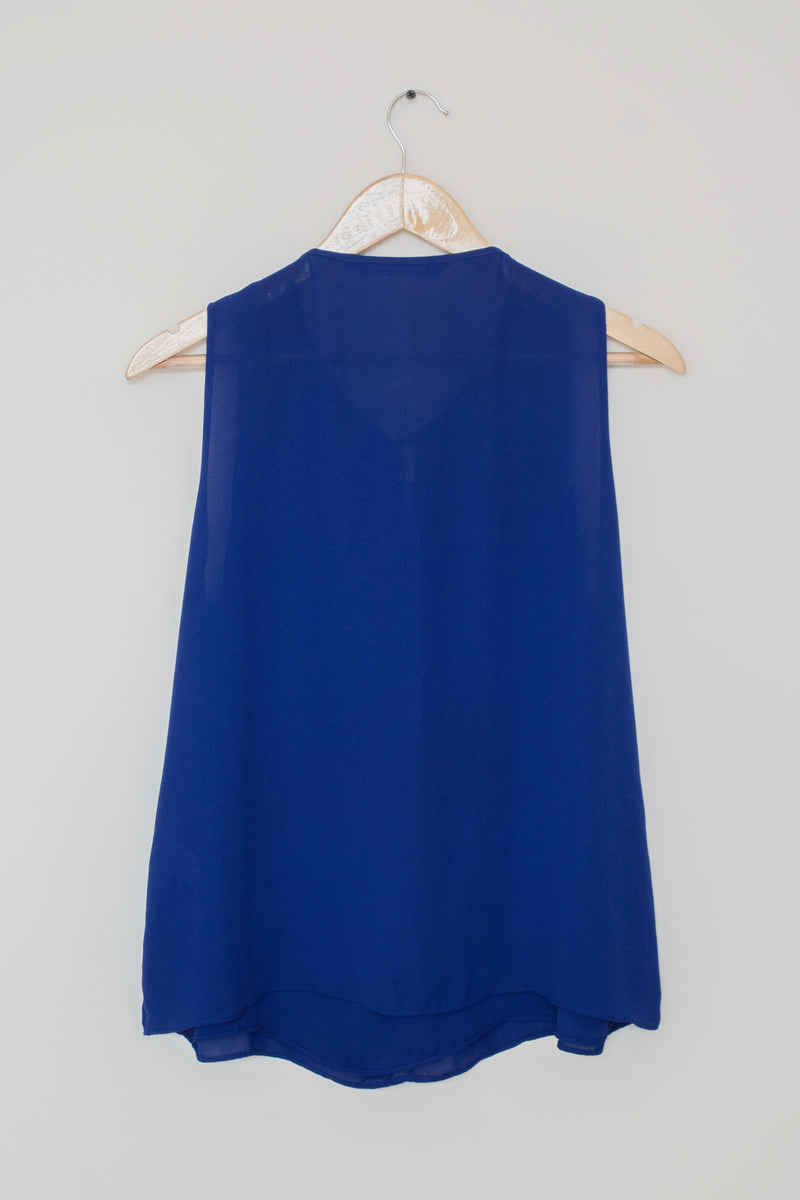 Preowned - Center Ruffle Blue Sleeveless top