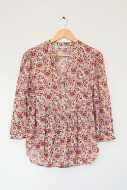 Preowned - Chinese collar printed Yoke top