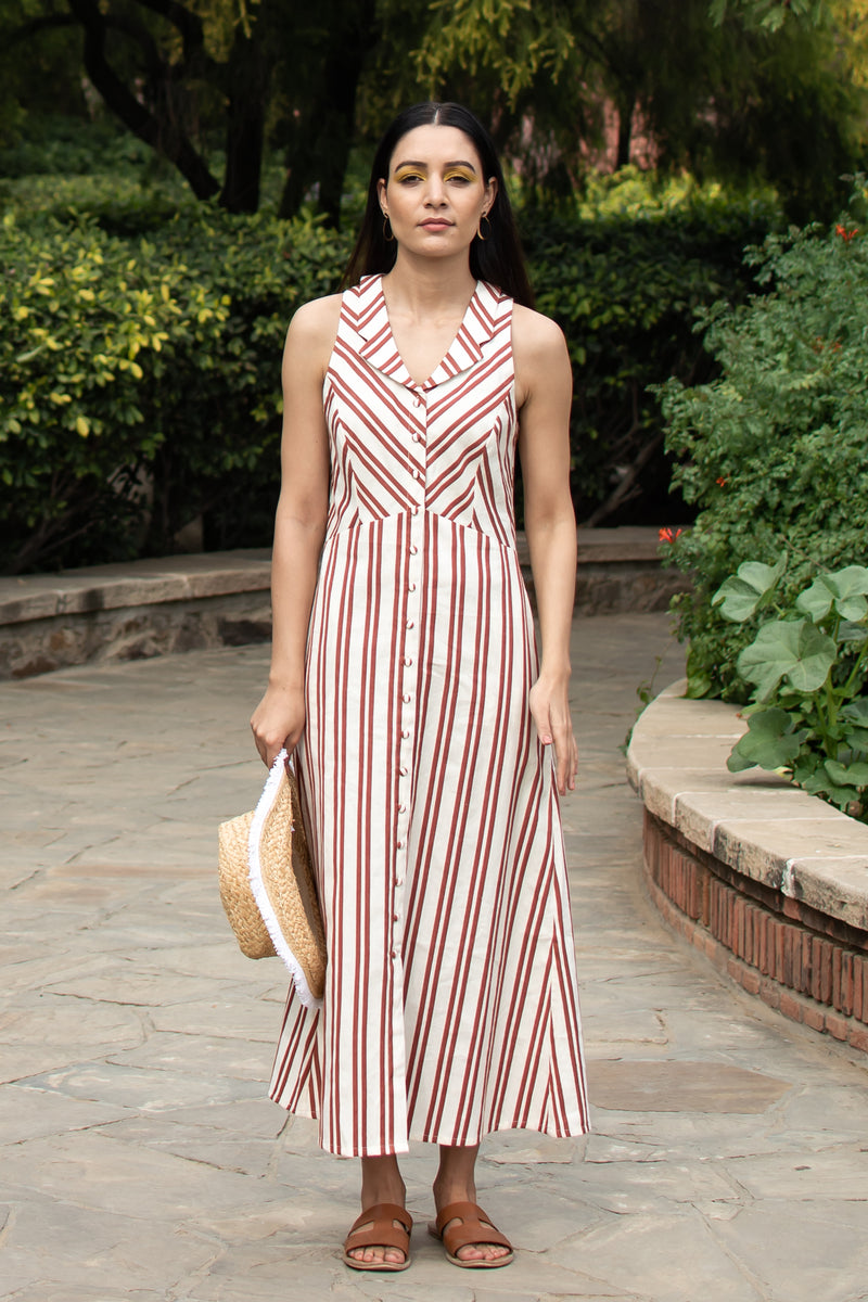 Red and White Striped Collared Dress