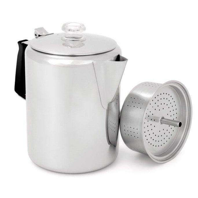 GSI Glacier Stainless Steel Percolator - 3 Sizes,EQUIPMENTCOOKINGPOTS PANS,GSI,Gear Up For Outdoors,