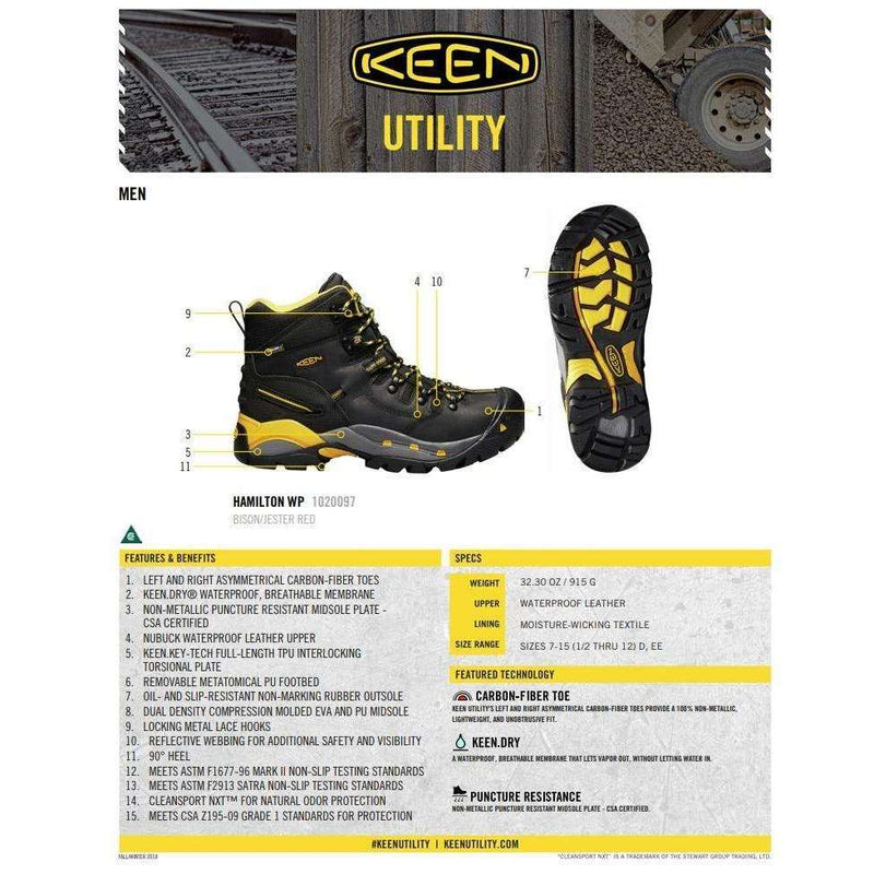 Keen Mens CSA Hamilton 6 inch Waterproof Mid Work Boot (Carbon Fiber Toe),MENSFOOTWEARSAFTEY CSA,KEEN,Gear Up For Outdoors,