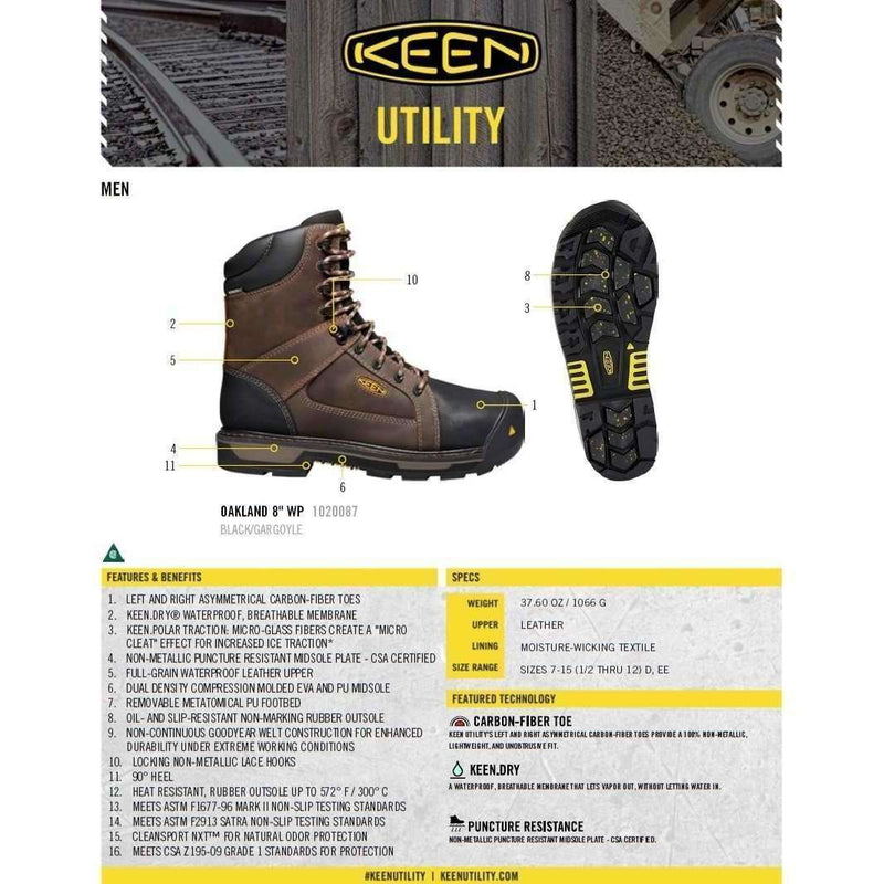 Keen Mens CSA Oakland 8 Inch Waterproof Work Boot (Carbon Fiber Toe),MENSFOOTWEARSAFTEY CSA,KEEN,Gear Up For Outdoors,