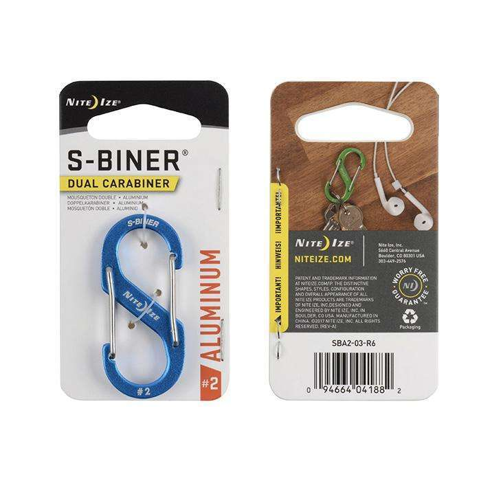 Nite Ize S-Biner Dual Carabiner #2 Aluminum,EQUIPMENTMAINTAINFASTNERS,NITEIZE,Gear Up For Outdoors,