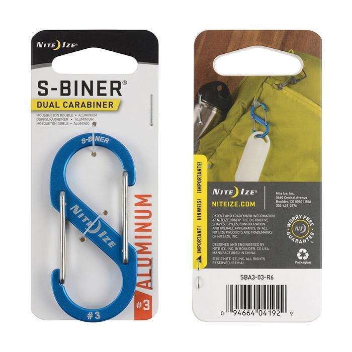 Nite Ize S-Biner Dual Carabiner #3 Aluminum,EQUIPMENTMAINTAINFASTNERS,NITEIZE,Gear Up For Outdoors,