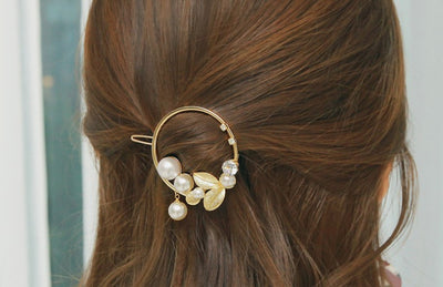 barrette cheveux ronde or