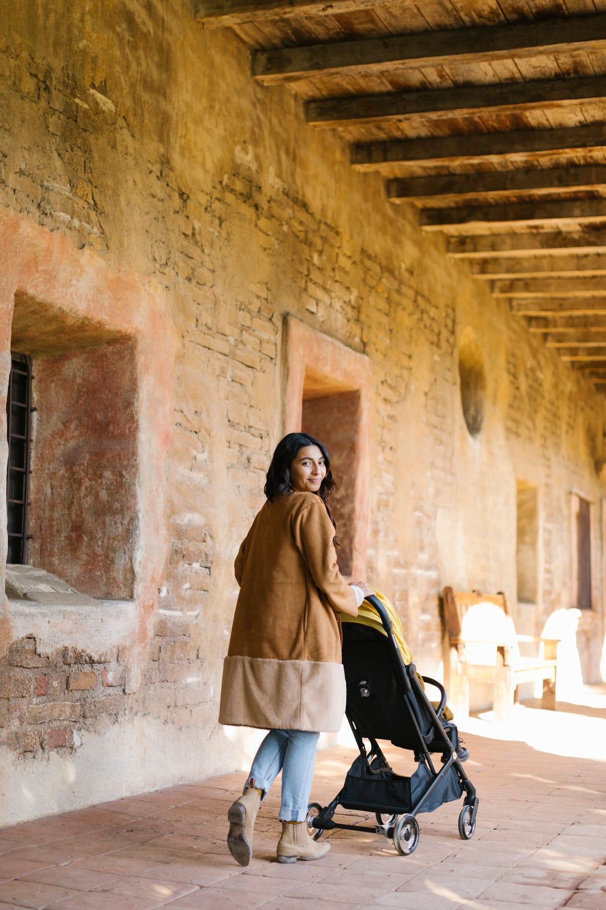 Valerie strolling through historic California Mission